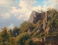landscape with rocks and trees by carl frederik bartsch
