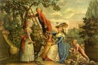 la cueillette des pommes (+ les oisillons présentés; 2 works, 1 signed) by jacques francois lemaire