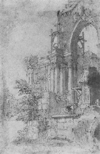 an architectural capriccio with an ornate arched facade by mauro antonio (maurino) tesi