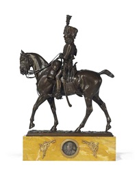 equestrian group of a hussar by pierre nicholas tourgueneff