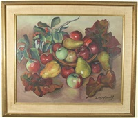 still life of apples and pears on a table by eugene andrew agafonoff