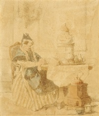 old lady at a table (+ a sketch of la malade, pencil, smllr; 2 works) by alexander hugo bakker korff