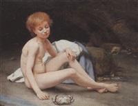jeune enfant jouant avec un crabe by victor tortez