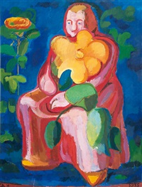 woman with large flower - frau mit großer blume by charlotte hilmer