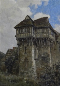 exterior view of stokesay castle; three views of stokesay castle (4 works) by frank moss bennett