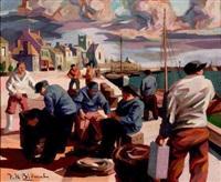sur le port de barfleur by v.h. blemus