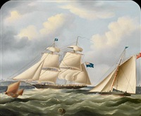 a royal navy brig and other shipping off dover by richard b. spencer