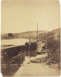 sèvres, ses environs. bords de la seine, vue prise de la rive gauche, d'aval en amont, au pied de la terrace de bellevue by henri-victor regnault