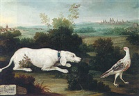an open landscape with a dog stalking a white pheasant, a bavarian city beyond by joseph stephan