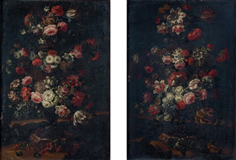 natures mortes de fleurs pair by gaspar pieter verbruggen the younger