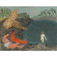 a couple watching a child bathing by milton avery