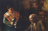 old couple in an interior by thomas hovenden