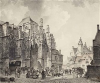view of a town square with a church, possibly saint-germain at argentan by kasparus karsen
