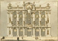 design for a façade with the arms of pope clement xiii rezzonico by paolo posi