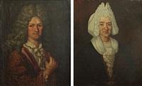 portrait de marie chartier, femme de p. petineau (+ portrait de monsieur pierre petineau, smllr; pair) by gaspard rigaud