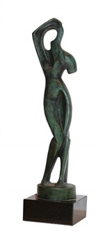 standing woman combing her hair, 1915 (later cast) by alexander archipenko