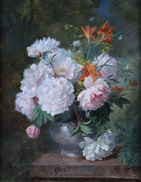 bouquet de fleurs dans un vase by jules félix ragot