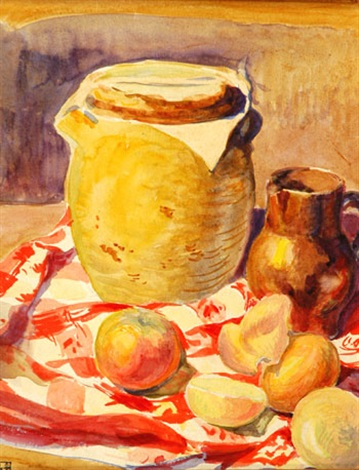 nature morte au pichet et aux fruits by paul emile colin