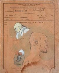 trois têtes, dont verlaine de profil (study) by frederic-auguste cazals