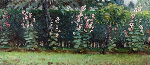 row of hollyhocks by abbott fuller graves