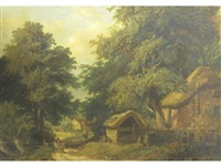 cottage scene at builford near worcester by henry harris lines