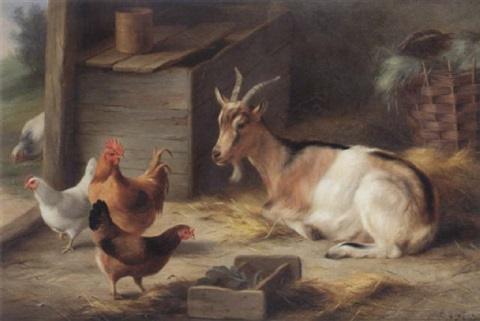 A Goat And Chickens Inside Barn By Edgar Hunt