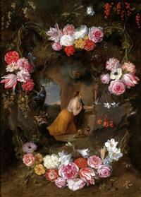 eine blumengeschmückte kartusche mit einer darstellung der betenden heiligen margareta von cortona by jan brueghel the younger