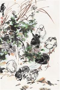 黄 胄(1925-1997) 花间禽戏 by huang zhou