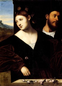 portrait of a husband and a wife, before a window ledge   with rosebuds by bernardino licinio