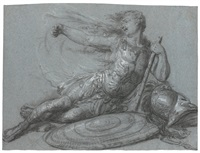 two studies of soldiers: a) a fighting soldier b) a wounded soldier (2 works) by luigi ademollo