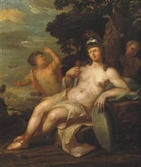 pallas athena in a wooded landscape with two putti by her side by hendrik van limborch
