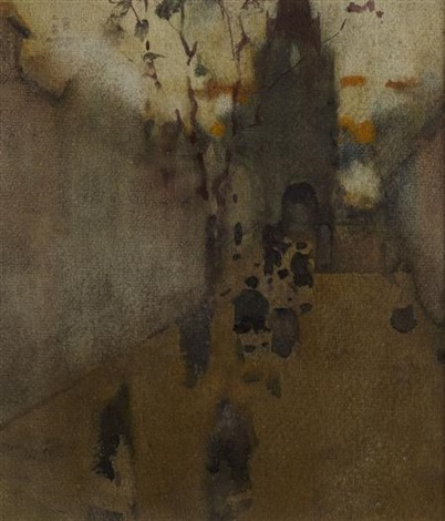 street scene with figures verso night horseman by james watterston herald