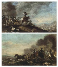 a cavalry troop on a hilltop, a fortified city beyond (+ a cavalry skirmish; pair) by pandolfo reschi