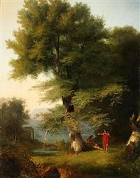 paysage arcadien avec deux bergers by jean charles joseph remond