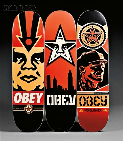 skate decks (3 works) by shepard fairey