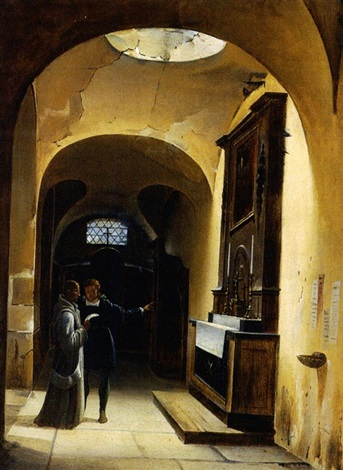 conversation dans une église by fleury-francois richard
