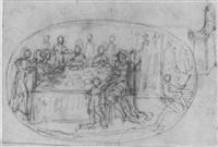 une scène de banquet avec un roi, et une étude subsidiaire du trône by alessio gimignani