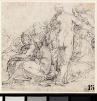 a group of figures, clustered together by lambert sustris