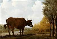 vache à l'étang by anthonie van borssom