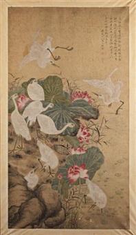 les grues, dont deux sont en vol, les autres évoluant sur les berges d'un plan d'eau, parmi des lotus en fleurs by ma yuanyu