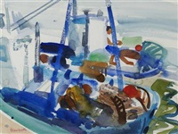 boats in a mediterranean harbour by glen scouller