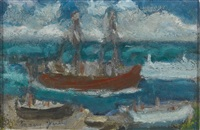 boat leaving newlyn harbour (2 works) by mary jewels