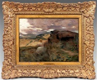 paysage du soir avec marie madeleine by jean-charles cazin