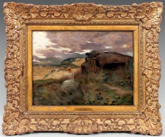 paysage du soir avec marie madeleine by jean charles cazin