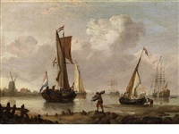 unloading the catch (+ stormy seas; pair) by francis swaine