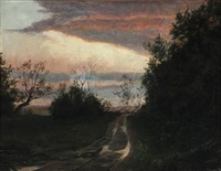 sunset by a road by ove haase