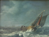 fishing boat in a rough sea by johannes christiaan schotel