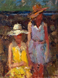 two ladies with sunhats by adriaan hendrik boshoff