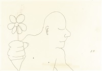 untitled illustration of a man holding a flower by john lennon