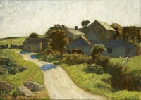 country cottage with horse grazing by mary duncan